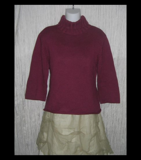 J. Jill Berry Cotton Knit Turtleneck Tunic Sweater Medium Petite MP