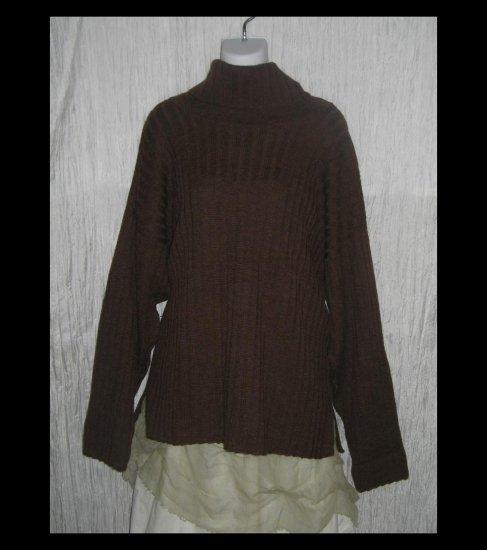 PERUVIAN TRADING Co. Brown Merino Wool Turtleneck Sweater Tunic Top OS