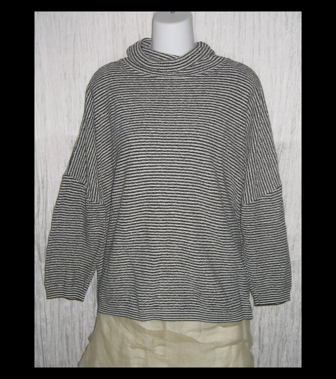 Stephanie Schuster for Princess Knitwear Black & White Striped Turtleneck Sweater Top OS