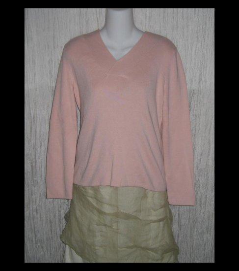 New J.  Jill Soft Pink Cotton Knit Pullover Tunic Top Medium M