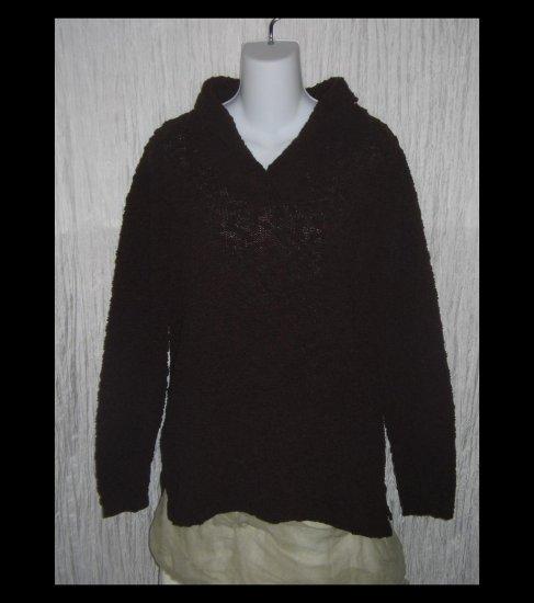 KAREN SCOTT Chocolate Brown Nubby Knit Pullover Sweater Top Medium M