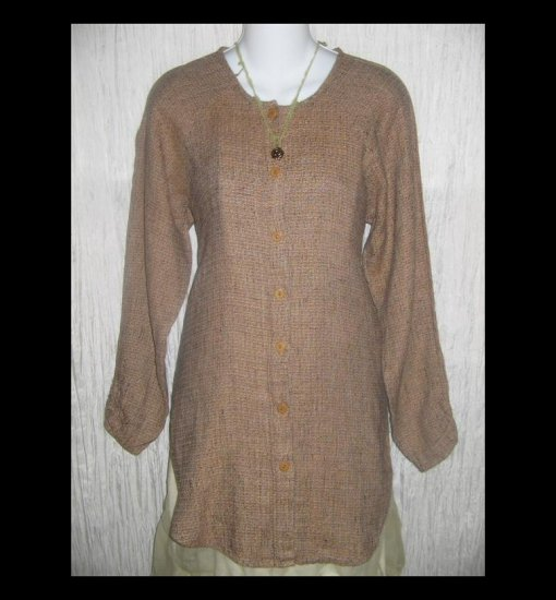 New FLAX Chocolate Tweed Long Linen Button Tunic Top Jeanne Engelhart Petite P