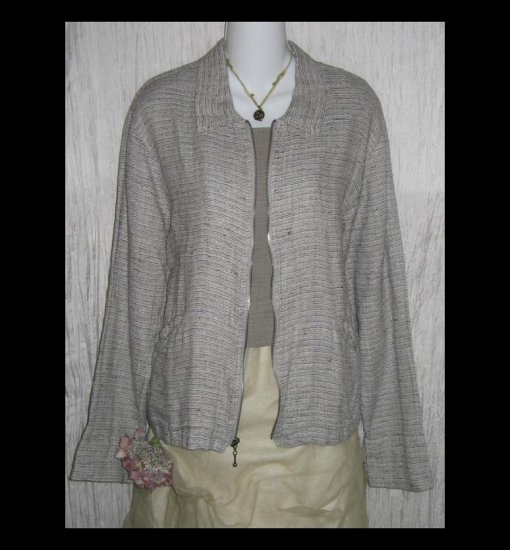New FLAX Black & White Tweed Linen Zipped Tunic Top Jacket Jeanne Engelhart Small S