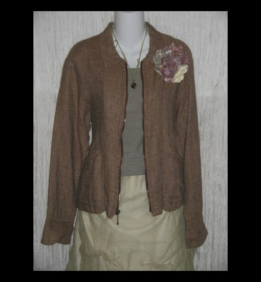 New FLAX Chocolate Tweed Linen Zipped Tunic Top Jacket Jeanne Engelhart Petite P