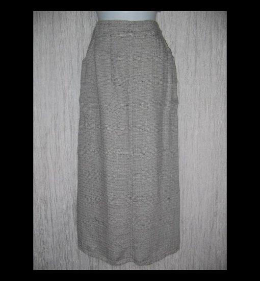 New FLAX Long Black & White Tweed Linen Pocket Skirt Jeanne Engelhart Small S