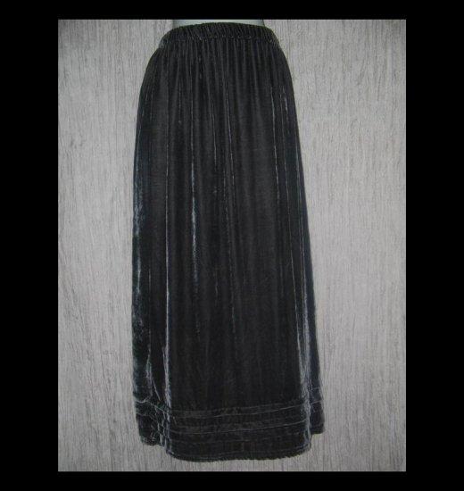 KRISTA LARSON Long Full Gray Silk Velvet Pleated Hem Skirt One Size OS