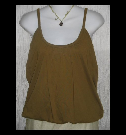 New City Unltd Soft Olive Green Cotton Knit Bubble Hem Lagenlook Tank Top Shell Shirt Large L