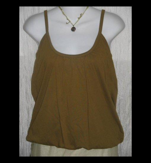 New City Unltd Soft Olive Green Cotton Knit Bubble Hem Lagenlook Tank Top Shell Shirt Medium M