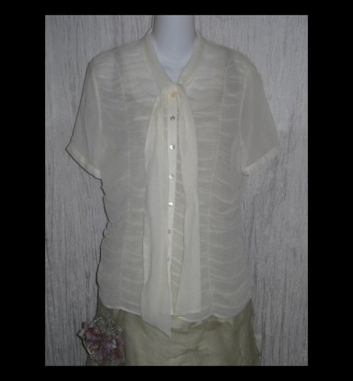 New Grace Dane Lewis Ethereal Gathered Cream Silk Tunic Top Blouse 8