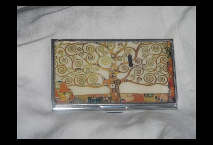 Klimt Tree of Life Business Credit Card ID Cash Case Slim Metal Wallet