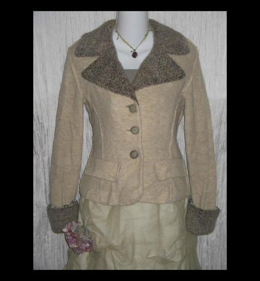 Paco Rabanne Paris Shapely Cream Wool Coat Jacket Small S