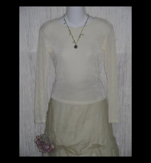 FLAX by Jeanne Engelhart Cream Slinky Tunic Top Shirt Small S