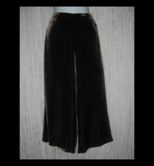 WD NY Rich Brown Rayon Silk Velvet Shapely Wide Leg Pants 10