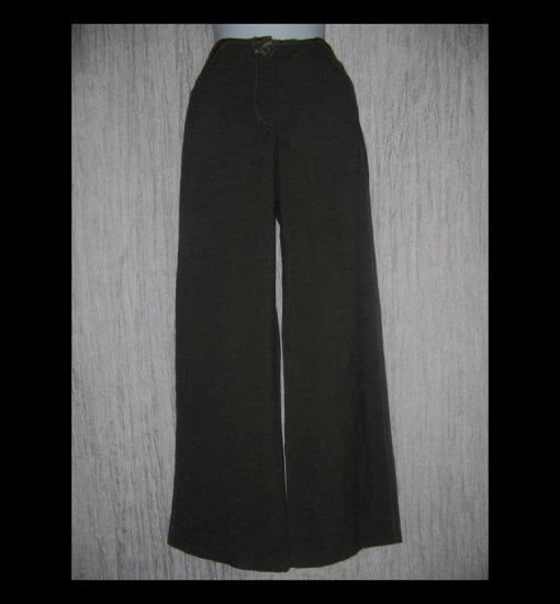 Neesh by D.A.R. Earthy Green Shapely Wide Leg Wool Trousers Pants Small S