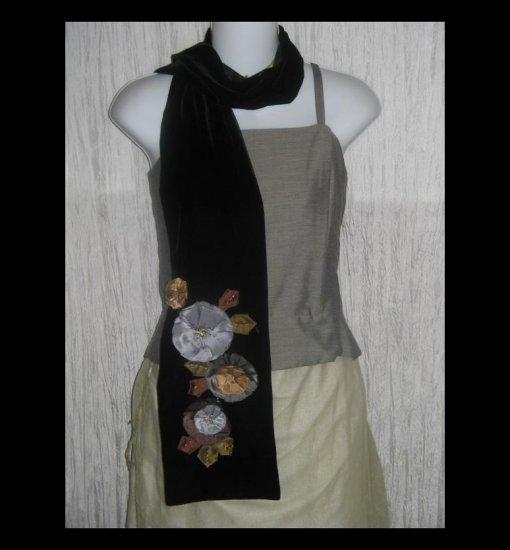 NEW ECHO Elegant Black Silk Velvet Floral Art to Wear Scarf