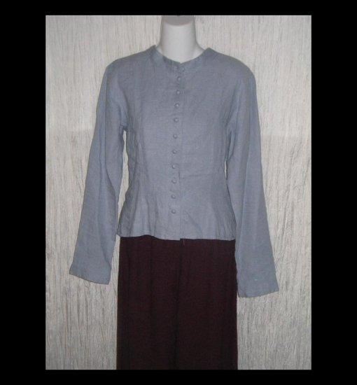 SOLITAIRE Blue Shapely Linen Button Shirt Top Large L