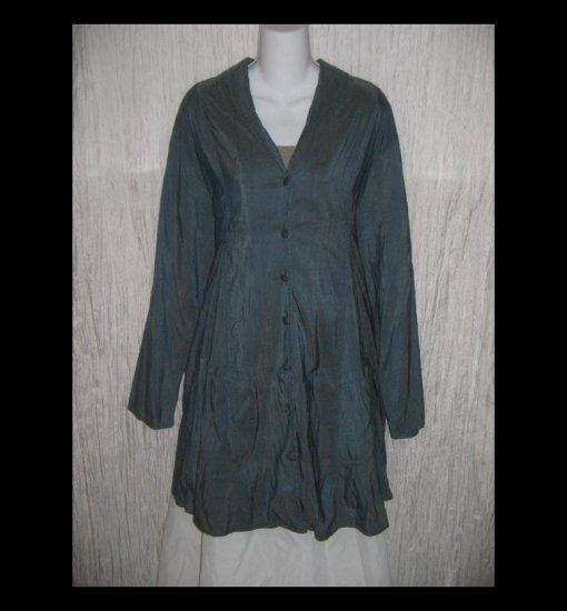 FLAX Jeanne Engelhart Long Shapely Twilight Silk Jacket Large L