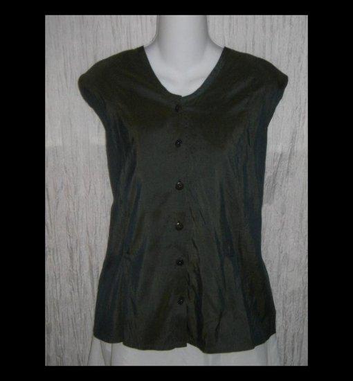 FLAX Shapely Blue Green Silk Shirt Top by Jeanne Engelhart 2 Generous 2G