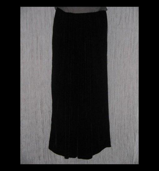 EILEEN FISHER NY Elegant Long Black Silk Velvet Wide Leg Lagenlook Pants 1 S M