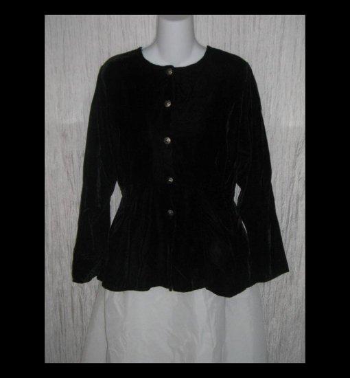 Angelheart Designs by Jeanne Engelhart Shapely Black Velvet Tunic Top Jacket FLAX P