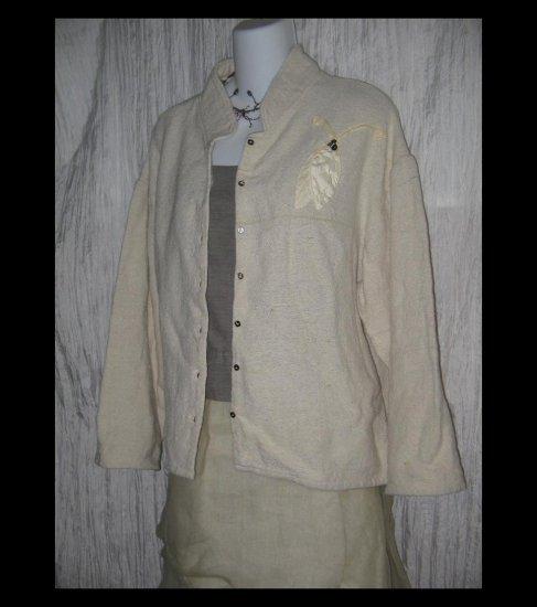 KRISTA LARSON Earthy Woven Cream Silk Linen Beaded Leaf Jacket One Size