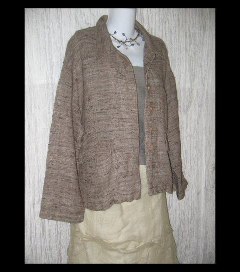 KRISTA LARSON Rugged Earthy Woven Silk Jacket One Size