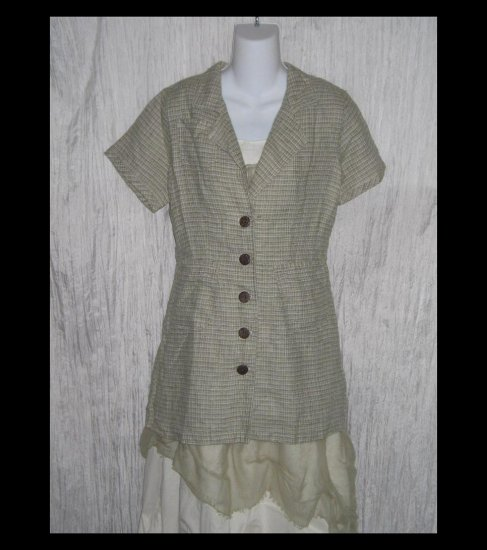 New SOLITAIRE Shapely Sage Tweed Linen Tunic Top Jacket Shirt Engelhart FLAX Small S