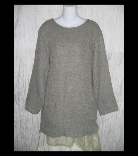 FLAX by Jeanne Engelhart Long Gray Thermal Linen Pocket Tunic Top Shirt Small S