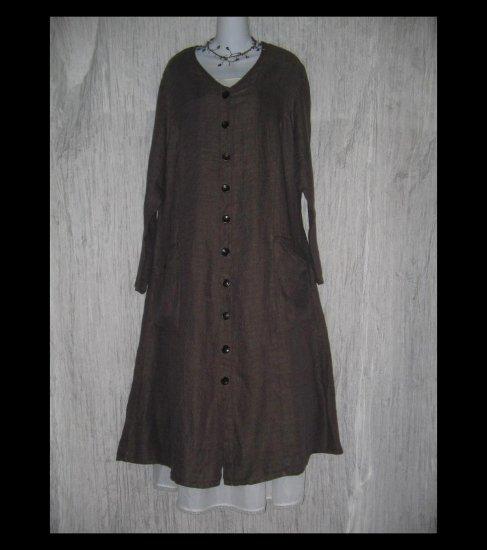 New Flax Shapely LINEN Duster Dress Jacket Jeanne Engelhart 1G