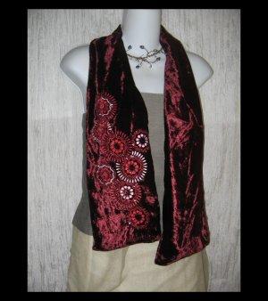NEW Nine West Elegant Burgundy Velvet Beaded Floral Art to Wear Scarf