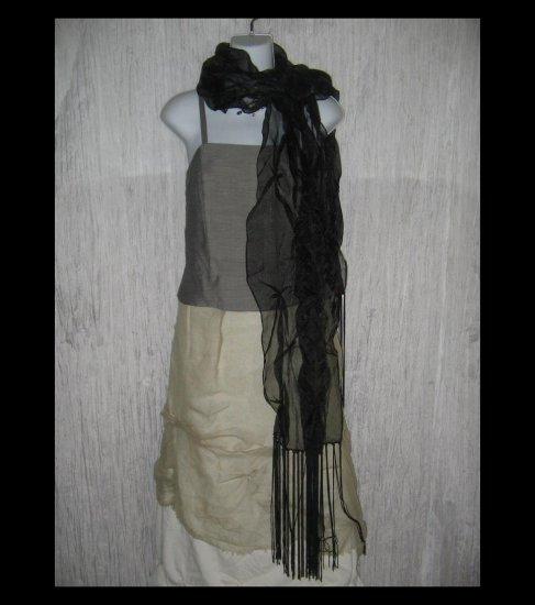 New Collection XIIX Gossamer Black Gathered Nylon Art to Wear Scarf