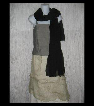 New Anne Klein Gossamer Black Gathered Nylon Art to Wear Scarf