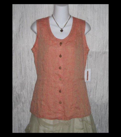 New SOLITAIRE Shapely Sherbert Linen Tunic Top Shirt Engelhart FLAX Small S