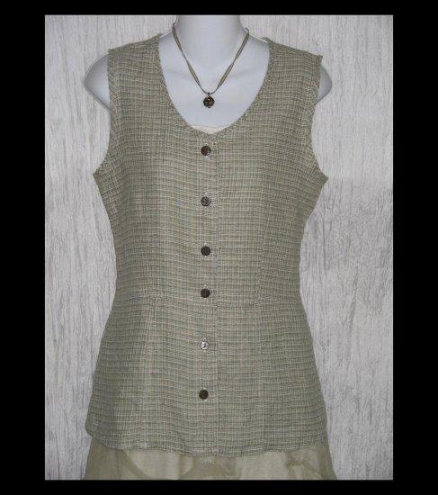 New SOLITAIRE Shapely Sage Tweed Linen Tunic Top Shirt Engelhart FLAX Medium M
