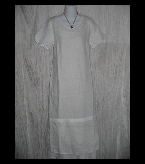 New Jeanne Engehart FLAX Long White Linen Dress Small S