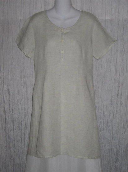 New FLAX Shapely Pale Blue Linen Tunic Dress Engelhart S