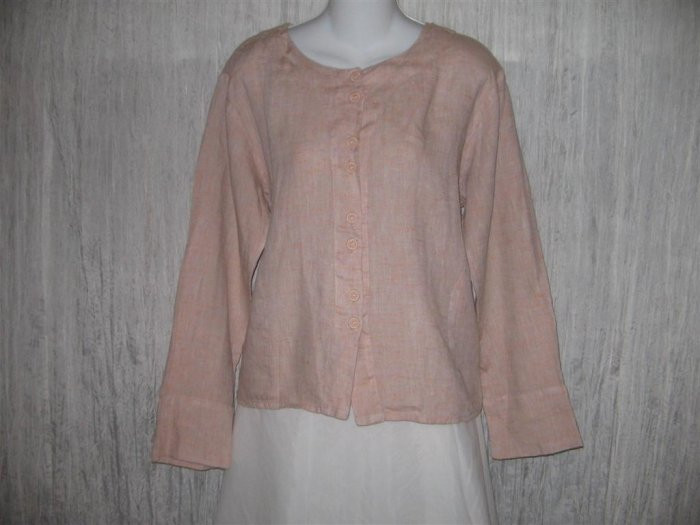 New FLAX Boxy Pink Linen Button Top Jacket Engelhart Petite P