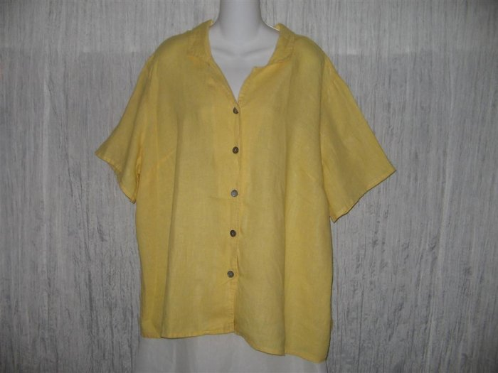 FLAX Yellow Linen Button Shirt Tunic Top Engelhart 2G