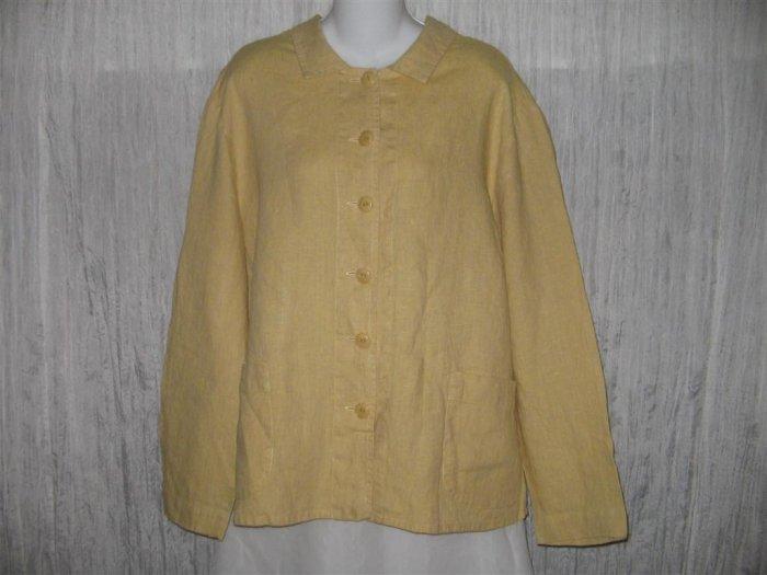 New FLAX Boxy Gold Crossweave Linen Jacket Engelhart 1G