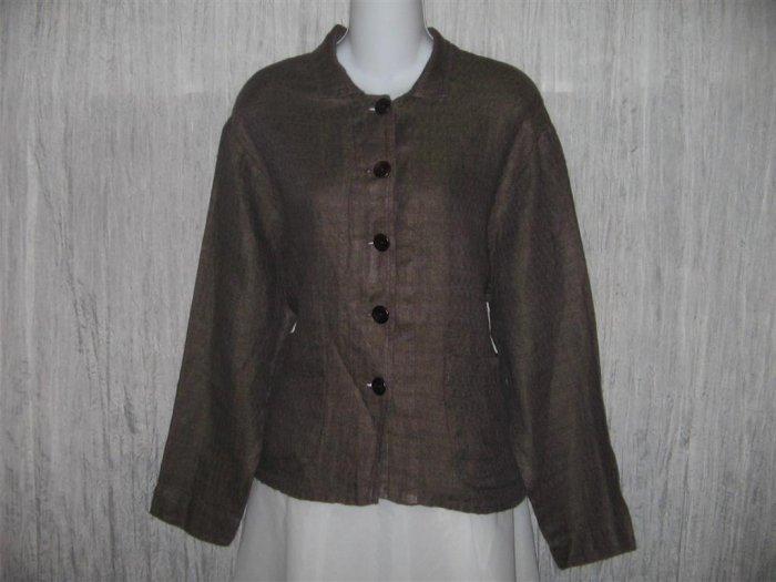 New FLAX Boxy Chocolate Herringbone Linen Jacket Engelhart S