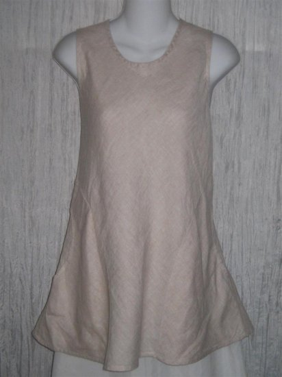New FLAX Lilac Linen Bias Pocket Tank Top Tunic Shirt Engelhart Small S