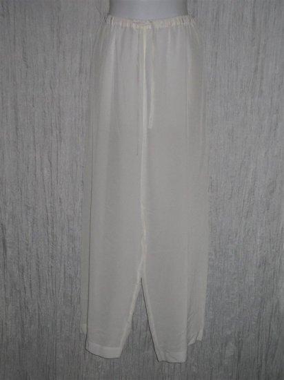 Soft Surrounding Loose White Silk Drawstring Pants Large L