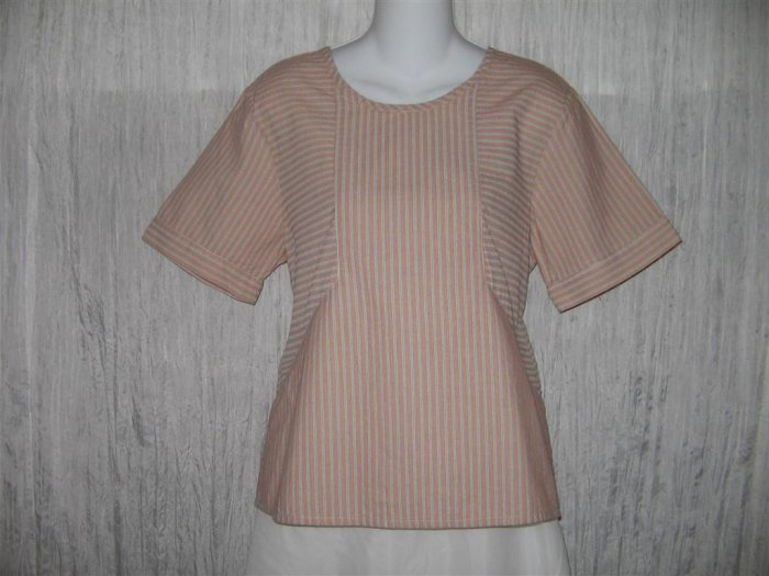 New FLAX Orange Stripe Textured Cotton Pullover Tunic Top Shirt Engelhart Small S