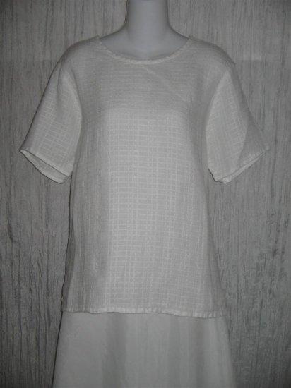 New FLAX White Textured Linen Pullover Tunic Top Shirt Engelhart Small S