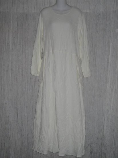 New Jeanne Engehart FLAX Long White Rayon Dress Small S