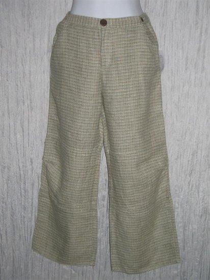 New Solitaire Green Textured Linen Pants Medium M
