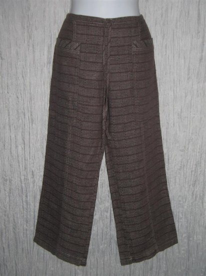 New Solitaire Brown Textured Linen Drawstring Pants Small S
