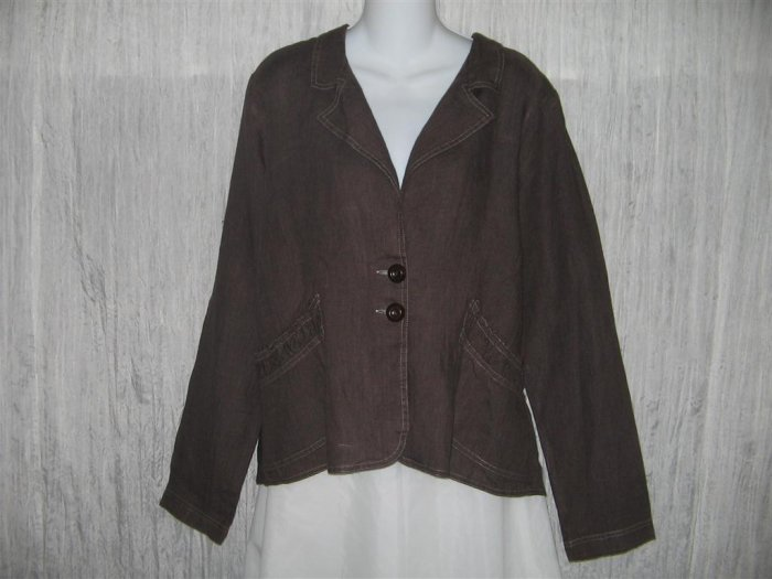 New SOLITAIRE Rich Chocolate Brown Shapely Linen Jacket X-Large