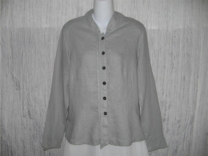 New SOLITAIRE Shapely Soft Striped Linen Rayon Shirt Top Large L