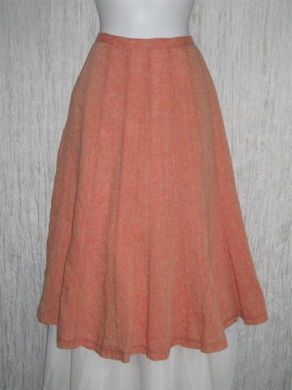 New Solitaire Shapely Orange Linen Flared Skirt S